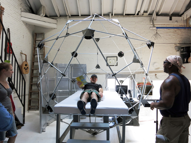 A geodesic sounds sculpture installed in Derek Hoffend's studio.