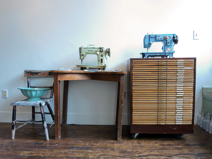 Sewing machines inhabiting the Aviary Gallery