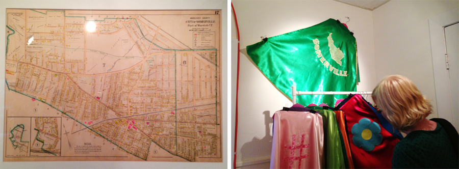 Left: Fine Art Reproduction Map, Somerville, MA 1900 by George W. Stadley & Co.  Right: Cape by Bettina Lengsfeld