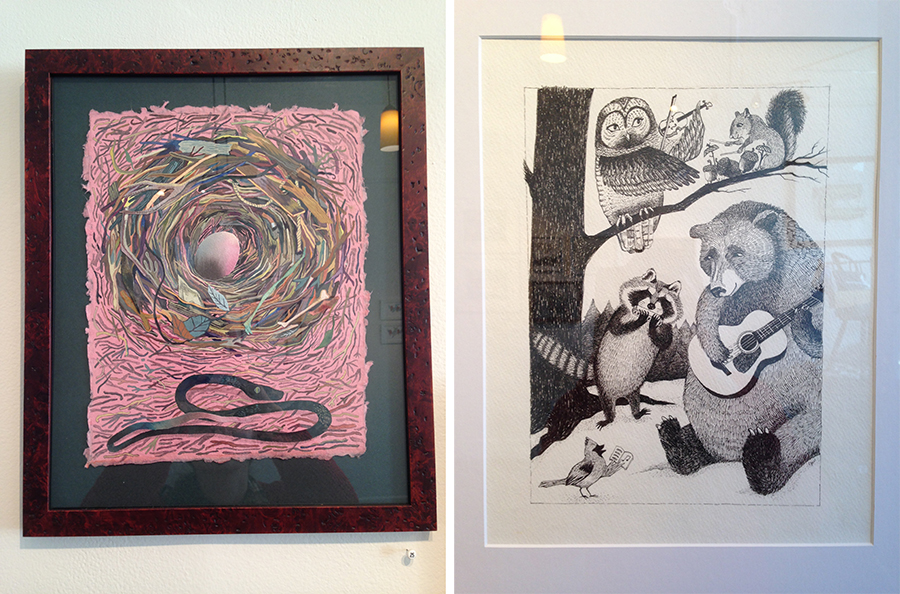 "Left: ""Nest"" by Corey Corcoran, Right: ""Wintry Music"" by Emma Welsman"