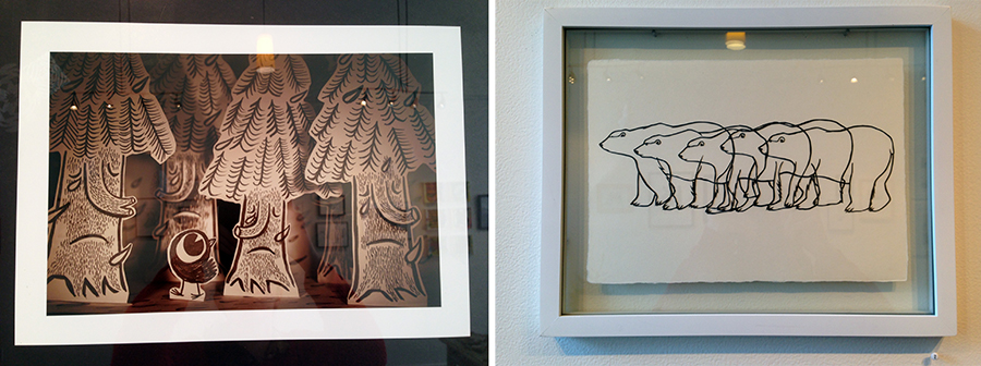 "Left: ""Crying Trees"" by Greg Cook, Right: ""Walking Polar Bear"" (animation stills) by Molly McIntyre"
