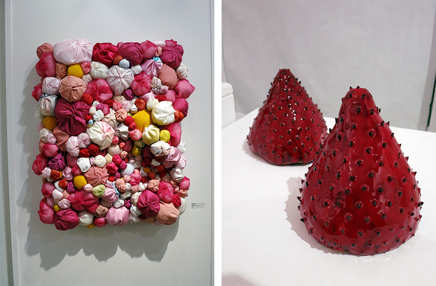 "Left: ""Breath of Girl"" by Natsuko Hattori, Right: ""Three Strawberries"" by Anne Alexander"