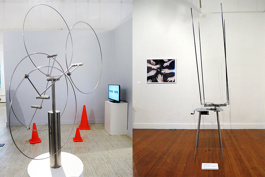 "Sculptures by Anne Lilly (""NOT THERE"" by Pablo Gnecco and ""Untitled (Touching Fur)"" by Robin Meyers in the background)"