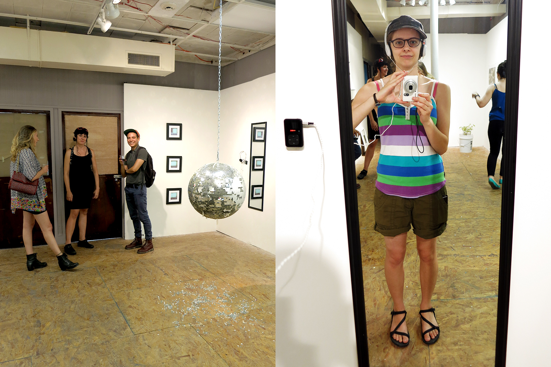 "LEFT: visible are ""Missing,"" film stills by Bug Davidson, ""Evidence of Performance"" (disco ball) by Local Honey, and ""I AM"" by David Wayne Reed."
